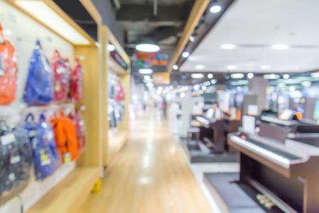 abstract blurred background of Department store in Shopping Mall, Vintage tone