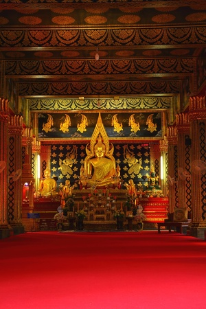 Golden Buddha in Attractively decorated temple.