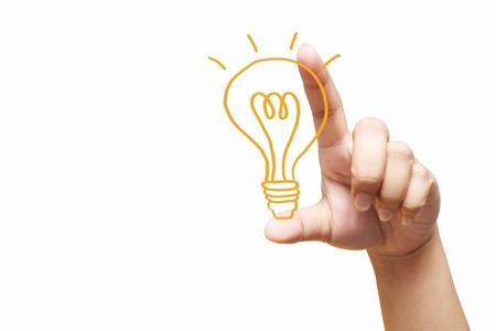 hand holding light bulb. Isolated on white background