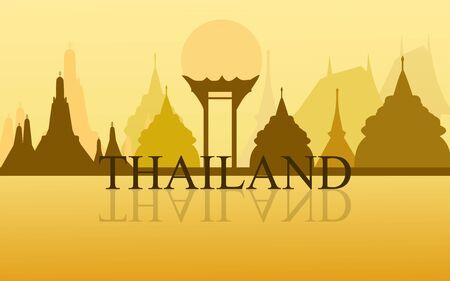 Illustration pour Thailand Amazing Tourism wat arun temple gold color design vector. Thai art graphic sign illustration. - image libre de droit