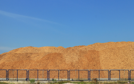 Wood Chip Mountain under Clear Sky