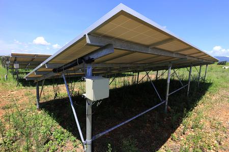 Photo pour Fuse Box of Solar Farm Installed Under PV Panels - image libre de droit
