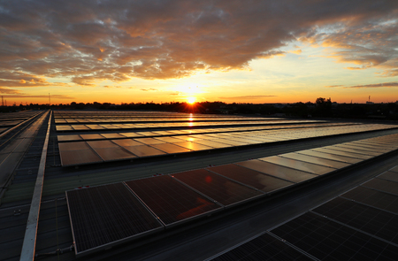 Photo for Solar PV Rooftop Sunrise Beautiful Sky - Royalty Free Image