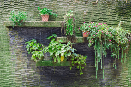 Small vertical garden with waterfall on stone bricks wall.