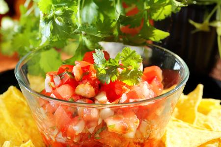 Mexican pico de gallo salsa with nachos and coriander