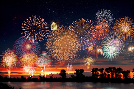 Photo for Fireworks at the lake during party event or wedding reception - Royalty Free Image