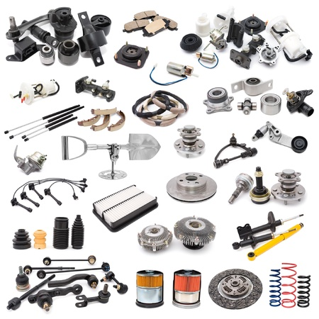 a lot of auto spare parts, over white
