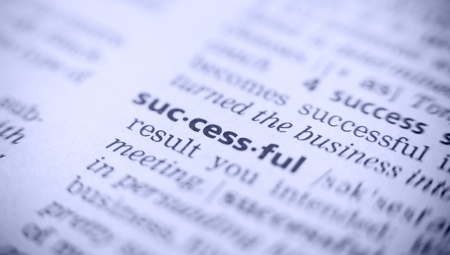 the word success in a glossary, macro, blue toning