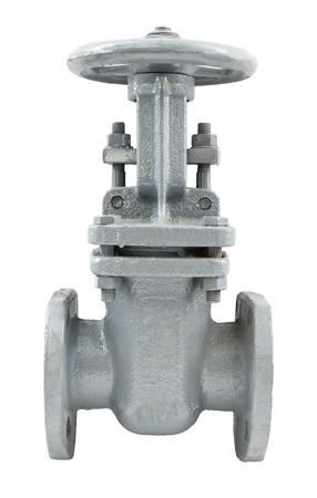 Photo pour a metal pipeline valve, isolated over white - image libre de droit