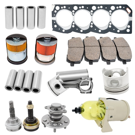 some auto spare parts, isolated over white