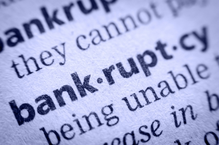 the word bankruptcy in an English glossary, super macro