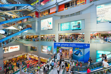 BANGKOK - MARCH 16, 2016: People walk inside the MBK Center, a large shopping mall that was the largest one in Asia when it opened in 1985.