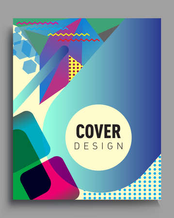 Photo pour Minimalistic Cover design, creative concept Abstract geometric design, Memphis pattern and colorful background. Applicable for placards, brochures, posters, covers and banners. - image libre de droit