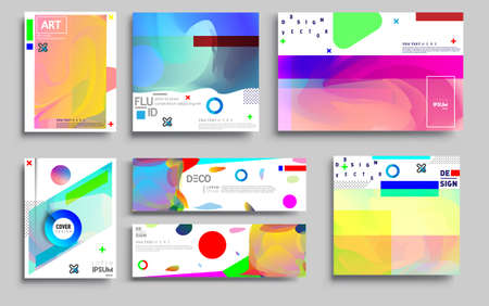 Illustration pour Modern abstract covers sets. Cool gradient shapes composition, vector covers design. - image libre de droit