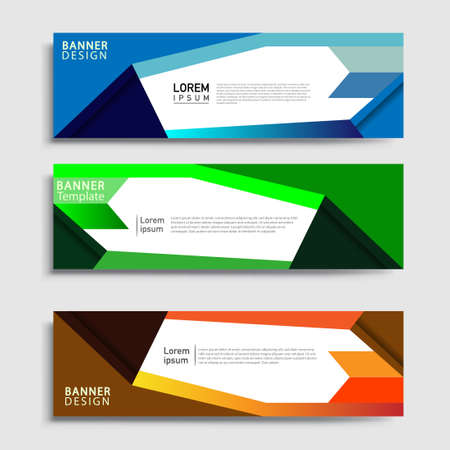 Illustration for Vector abstract web banner design template sets. Collection of web banner template. Abstract geometric web design banner template. - Royalty Free Image