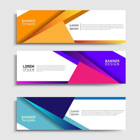 Illustration pour Vector abstract web banner design template sets. Collection of web banner template. Abstract geometric web design banner template. - image libre de droit