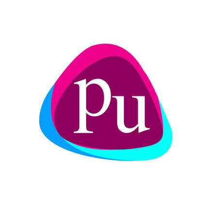 Letter PU logo in triangle shape and colorful background, letter combination logo design for company identity.