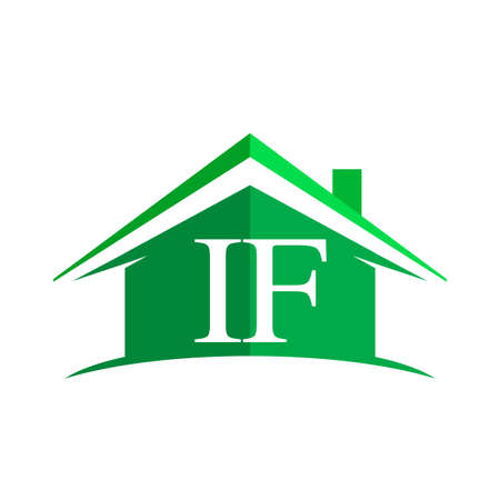 Illustration for initial logo IF with house icon and green color, business logo and property developer - Royalty Free Image