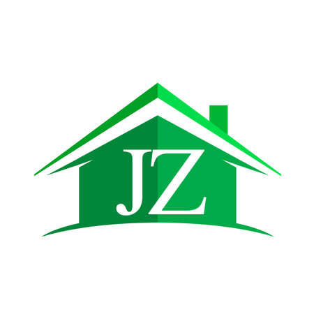 Illustration for initial logo JZ with house icon and green color, business logo and property developer - Royalty Free Image