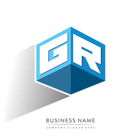 Letter GR logo in hexagon shape and blue background, cube logo with letter design for company identity.