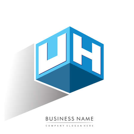 Illustration pour Letter UH logo in hexagon shape and blue background, cube logo with letter design for company identity. - image libre de droit