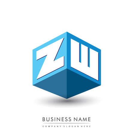 Illustration for Letter ZW logo in hexagon shape and blue background, cube logo with letter design for company identity. - Royalty Free Image