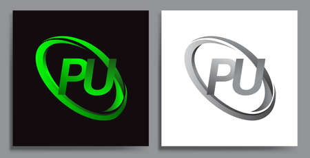 letter PU logotype design for company name colored Green swoosh and grey. vector set logo design for business and company identity.