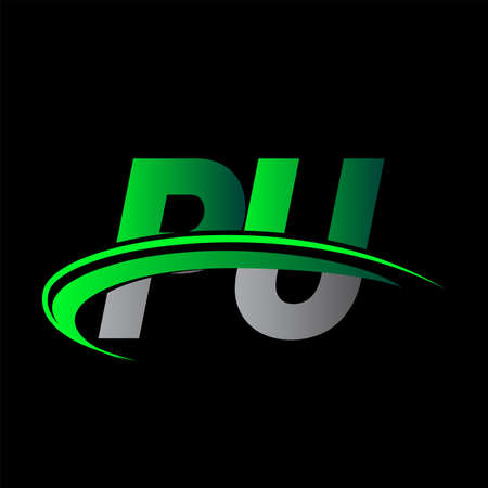 initial letter PU logotype company name colored green and black swoosh design. vector logo for business and company identity.