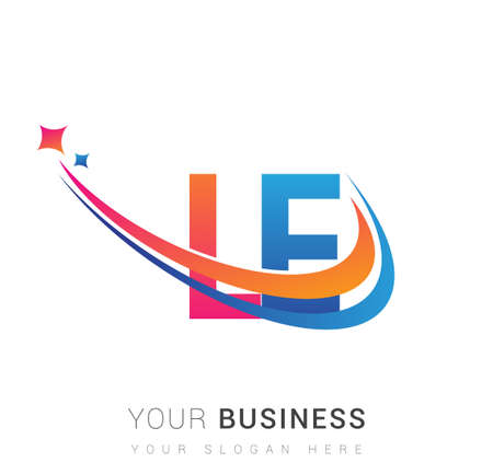 initial letter LE logotype company name colored orange, red and blue swoosh star design. vector logo for business and company identity.