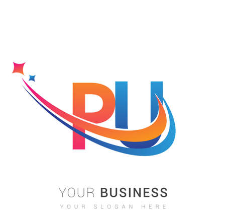 initial letter PU logotype company name colored orange, red and blue swoosh star design. vector logo for business and company identity.
