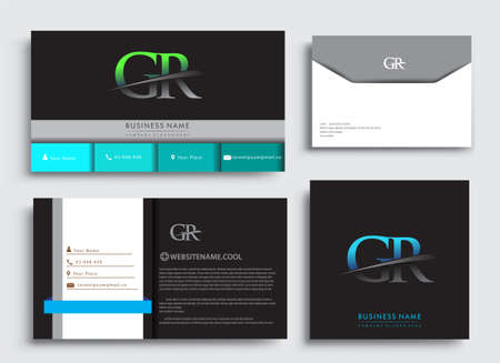 Clean and simple modern Business Card Template, with initial letter GR logotype company name colored blue and green swoosh design. Vector sets for business identity, Stationery Design.
