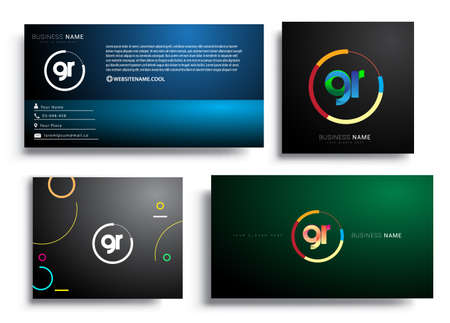 Letter GR logotype with colorful circle, letter combination logo design with ring, sets of business card for company identity, creative industry, web, isolated on white background.