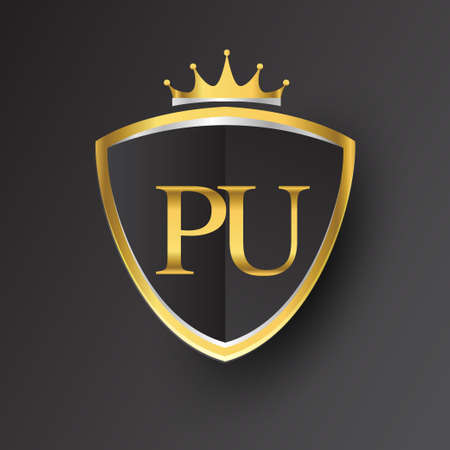 Initial logo letter PU with shield and crown Icon golden color isolated on black background, logotype design for company identity.
