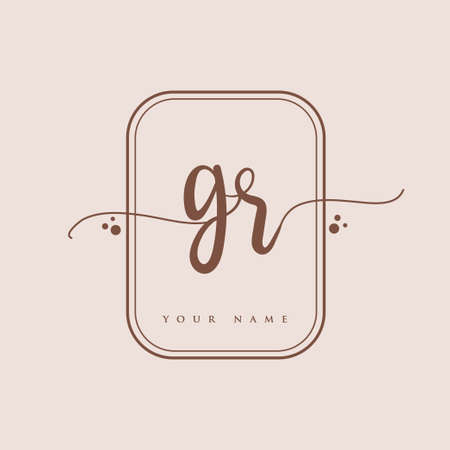GR Initial handwriting logo. Hand lettering Initials logo branding, Feminine and luxury logo design isolated on elegant background.