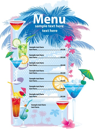 Template designs of cocktail menu