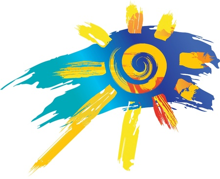 Illustration for sun symbol from color splashes and line brushes - Royalty Free Image