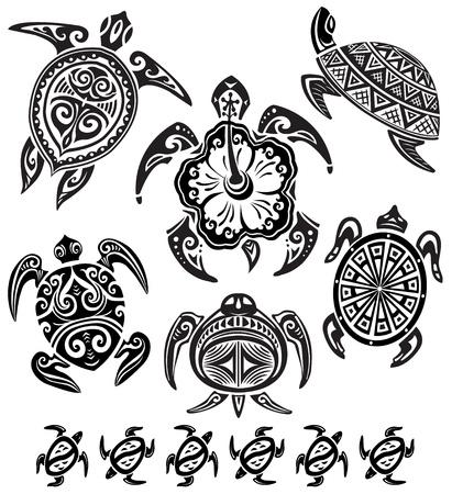Illustration pour Decorative turtles - image libre de droit