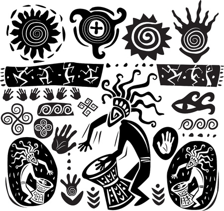 Set of elements of primitive art