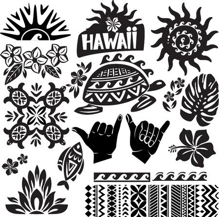 Illustration pour Hawaii Set in black and white - image libre de droit