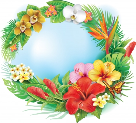 Illustration for Round banner from tropical flowers and leaves - Royalty Free Image