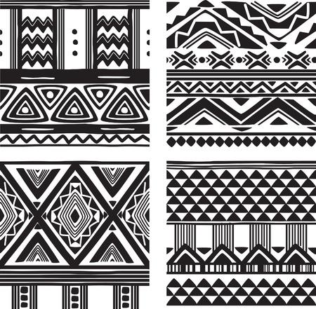 Illustration pour Set of tribal texture - image libre de droit