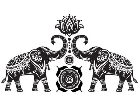 Ilustración de Stylized decorated elephants and lotus flower - Imagen libre de derechos