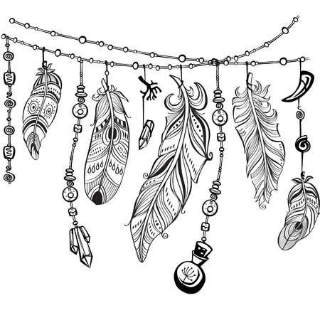 Illustration pour Black feathers and ribbons in tribal style - image libre de droit