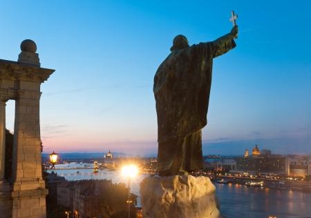 Budapest night view. The Monument to Bishop Gellert.
