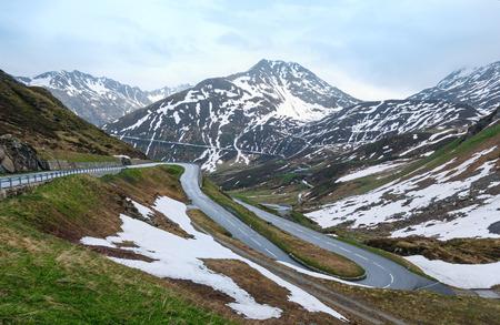 Summer mountain landscape with road (Oberalp Pass, Switzerland)