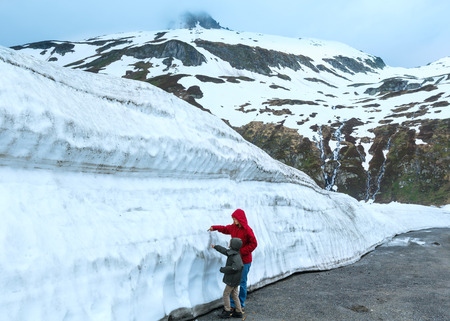 Family (mother with son) in summer mountain (Oberalp Pass, Switzerland)