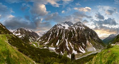 Photo pour Summer Alps mountain sunset landscape with alpine road and river, Fluela Pass, Switzerland - image libre de droit