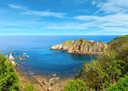 Photo pour Atlantic Ocean coastline summer landscape, Silencio beach, Spain. Multi shots stitch high resolution panorama. - image libre de droit