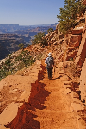 Hiker Hading down the South Kaibab trail in the Grand Canyon