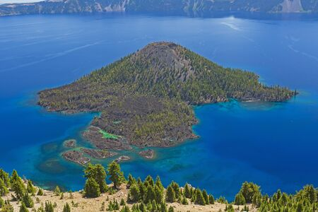 Aerial View from the Watchman of a the Volcanic Cone Wizard Island in a Caldera of Crater Lake in Oregon